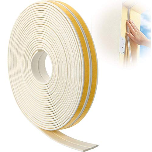 Sealing Tape For Doors And Windows, 12 m Seal Strip Self Adhesive Foam for Sound Insulation, Protection against Wind, Noise, White (2 Rolls Total 12 m)