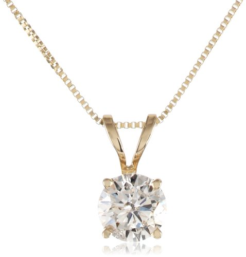10k Yellow Gold Diamond Solitaire Pendant Necklace (1/2 cttw, I-J Color, I2-I3 Clarity), 18
