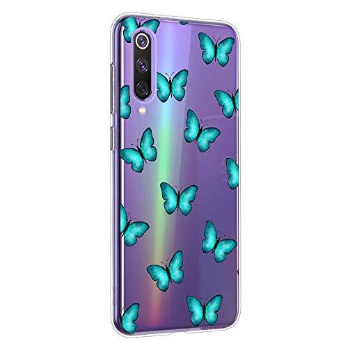 Oihxse Funda Conpatible con Xiaomi Redmi K20/K20 Pro Silicona Transparente Dibujos Mariposa Cover Suave TPU Gel Cristal Clear Delgada Anti- Arañazos Protección Carcasa Case,Azul 1