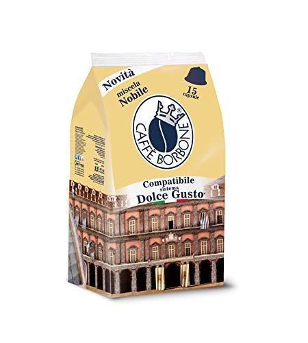 Caffe Borbone DOLCE GUSTO Nobile Kaffeekapseln für italienischen Espresso (kompatibel mit NESCAFE Kaffeemaschinen Krups, DeLonghi etc.) 15 Kaffee Kapseln