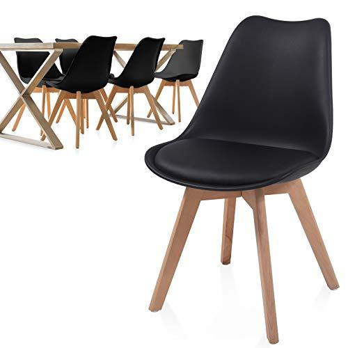 MIADOMODO® Esszimmerstühle 2er 4er 6er 8er Set - Skandinavischer Stil, gepolstert mit Sitzkissen, aus Kunststoff & Massivholz, Farbwahl - Vintage, Retro, Küchenstuhl, Stühle (6er, Schwarz)