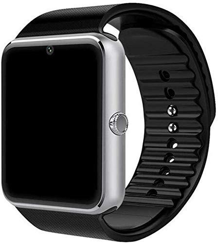 NO BRAND Tarjeta TF Correa Inteligente watchSmart Reloj de Pulsera Bluetooth Plus Metal SmartWatch Soporte Sim Androidios Reloj Multi-Idiomas PK S8 Z60 (Color : Silver)