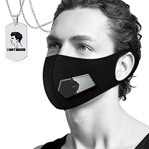 JJIIEE Luftreiniger für den Außenbereich, tragbarer elektrischer Staub-Gesichtsschutz, wiederverwendbarer Aktivkohlefilter mit 5 Verbundfiltern, kostenlose Halskette,Face Cover