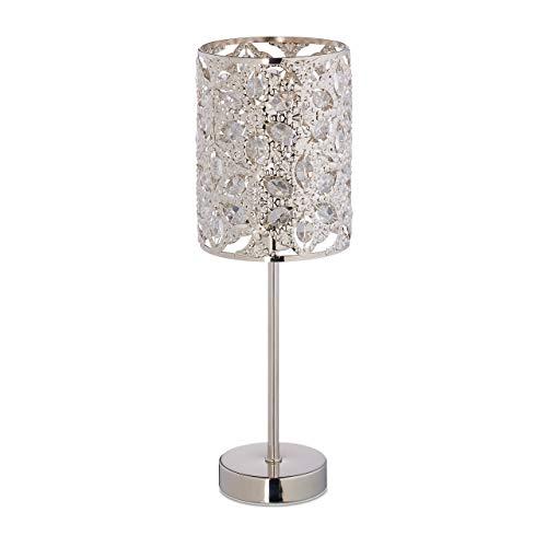 Relaxdays Tischlampe, florales Design, E14-Fassung, Wohn- & Schlafzimmer, Kristall Tischleuchte, HxD: 37 x 12 cm, silber
