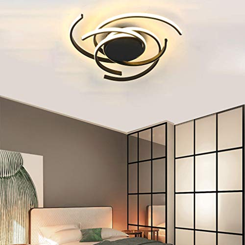 Phlilqe LED Ceiling Light Dimmable Chandelier Living Room Kitchen with Remote Control Hanging Lamp, Modern Dining Room Flush Mount Acrylic Chic Ceiling Chandeliers Lighting for Bedroom (Black, 22')