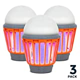 Boundery Bug Bulb 2 in 1 Camping Lantern and Bug Zapper Light Bulb Portable Waterpрoof Mosquito Repellent Mosquito Zapper LED Tent Lamp (360-400nm UV) - Indoor & Outdoor Bug Zapper (3 Pack)