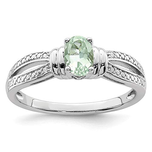 925 Sterling Silver Green Quartz Diamond Band Ring Size 6.00 Gemstone Fine Jewelry For Women Gifts For Her Amethyst Pink Sapphire Ring