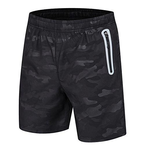 donhobo Kurze Hosen Herren Shorts Sport Trainingsshorts Fitness Short Sporthose mit Taschen Reißverschluss(02Schwarz,L)