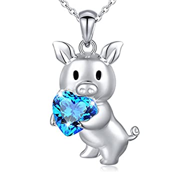 DAOCHONG 925 Sterling Silver Blue Cubic Zirconia Love Heart Cute Pig Pendant Necklace Birthday Gift for Women Pig Lover 18 inch