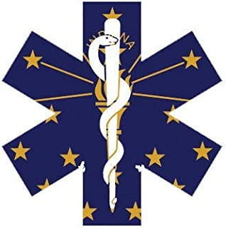 ION Graphics Indiana State Shaped EMT Flag Sticker Die Cut Vinyl EMS Paramedic in 5