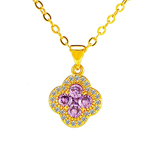 SWAOOS Colgante de trébol de Cristal de Piedra Natural 24 K Color Dorado Gargantilla de Flores Collar de Cadena de eslabones para Mujer joyería de Boda