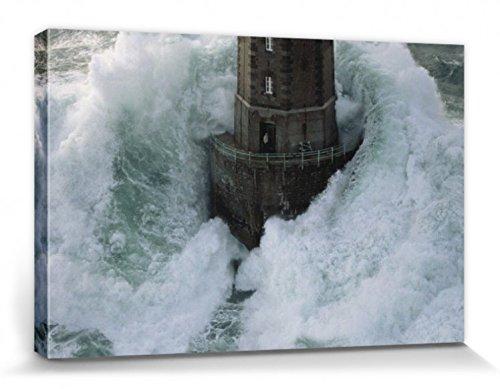 1art1 Leuchttürme - Leuchtturm Im Sturm, La Jument Frankreich Von Jean Guichard Bilder Leinwand-Bild Auf Keilrahmen | XXL-Wandbild Poster Kunstdruck Als Leinwandbild 120 x 80 cm