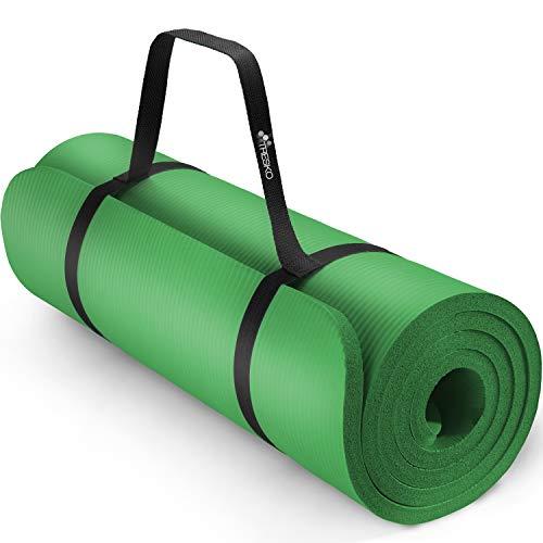 TRESKO Esterilla de Fitness 185 x 60 cm y 190 x 100 cm para Gimnasia, Yoga, Pilates y Cualquier Tipo de Entrenamiento | Suave y cómoda | Espuma NBR (Verde, 190 x 100 x 1,5 cm)