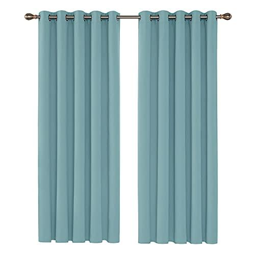 Deconovo Cortinas de Salon para Ventanas Modernas Suaves 2 Piezas 168 x 183 cm Azul Cielo