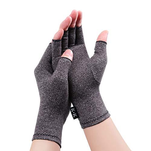 Digitek Guantes reumatoides de compresión sin dedos para aliviar el dolor - Guante de mano Rehabilitación Aliviar el dolor Trabajo diario para Unisex Adultos [Pequeña -Gris]