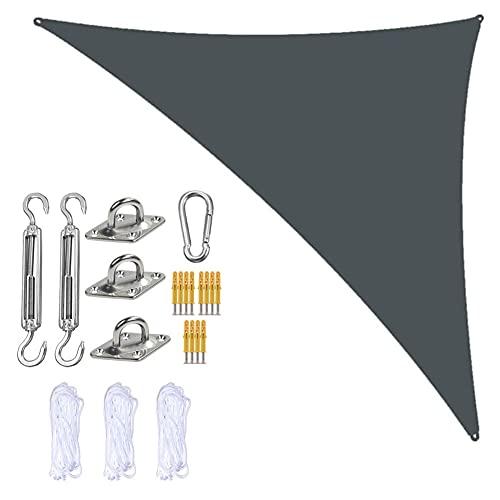Jardín Sun Shade Sails Triangle Canopy con 3 Cuerdas Y Kit De Fijación, Sombra De Sol De Triangle Sombra, Impermeable Y Bloque UV, para Patios Al Aire Libre Cubierta Toldo,Deep Grey,3m x 3m x 4.3m
