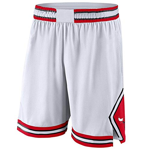 GAOZI Herren Basketball Shorts Chicago Bulls Sports Shorts Swingman Jogginghose Beiläufige Bequeme Lose Strand-Kurzschlüsse Shorts Mesh Basketball