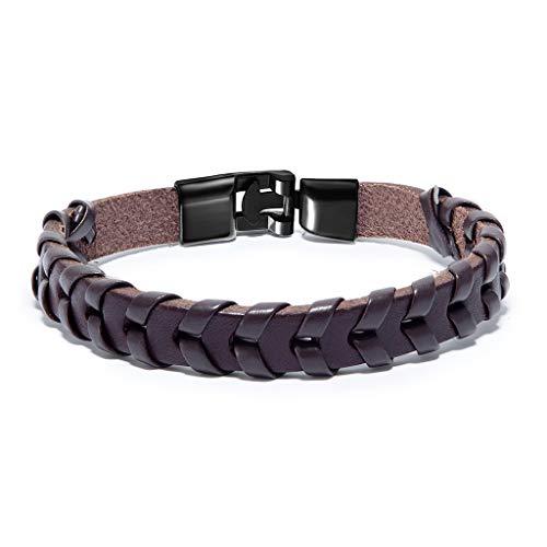 Pulsera de cuero trenzado para hombre, con cierre magnético de aleación, hecha a mano, color marrón