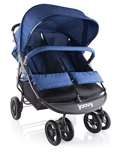 Joovy Scooter X2 Double Stroller, Side by Side Stroller, Stroller for Twins, Large Storage Basket, Blueberry