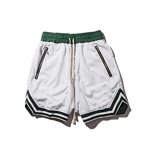 A-YSJ Pantalones Cortos Hombre Pantalones Cortos para Hombres Joggers De Baloncesto Sweetpants Casual Secado Rápido Negro Verano Malla Pantalones Cortos (Color : White, Size : XL(180cm 75kg))