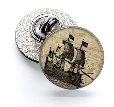 Magglass Broche à rabat gravée Bateau No7 16 mm   Accessoires originaux pour hommes et enfants pour vestes, blazers ou pulls
