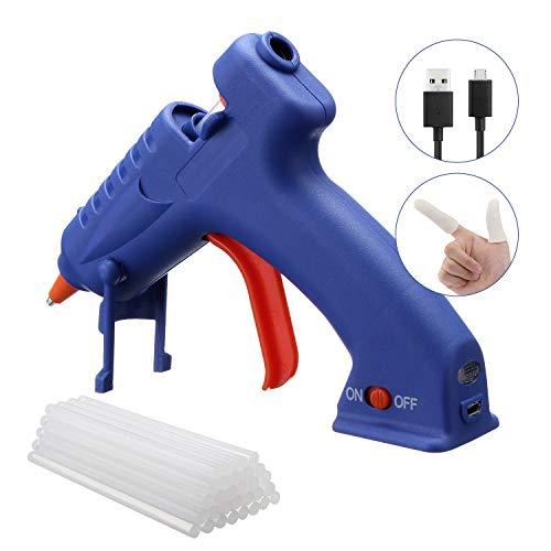 VADIV MINI Hot Glue Gun Cordless, Children Glue Gun Kit With 30 Glue Sticks For DIY, Crafts, Art Creation, Blue (Transparent glue stick)