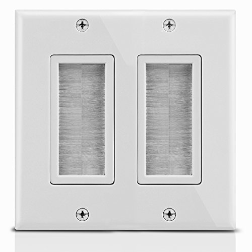 Fosmon 2-Gang Wall Plate, Brush Style Opening Passthrough Low Voltage Cable Plate in-Wall Installation for Speaker Wires, Coaxial Cables, HDMI Cables, or Network/Phone Cables