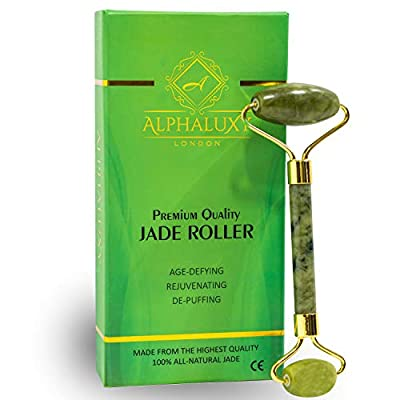 ALPHALUXY Best Real Jade Roller Stone - 100% Natural Beauty Jade Facial Roller for Face, Eye, and Neck - Women Face Massager to Improve The Appearance of Skin - Anti-Wrinkles & Puffiness Relief by Alphaluxy