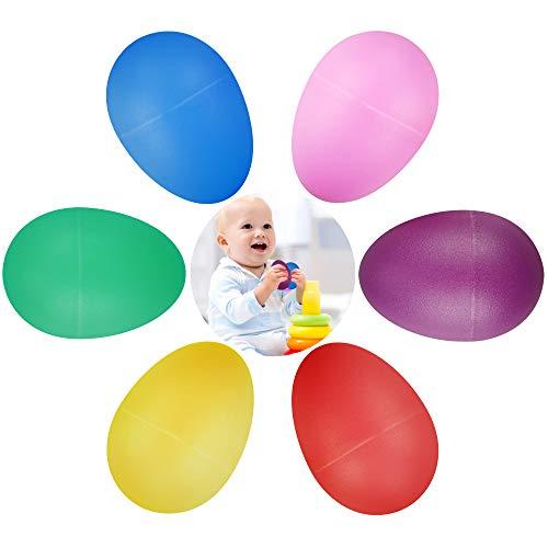 24 Stück Eier Maracas Eier Shaker Set Rasseleier Rhythmus aus Kunststoff für Baby Kleinkinder Osterpartygeschenke Musikinstrument Egg Shaker 6 Farbe