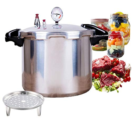 22quart with cooking rack canner pressure cooker,all american pressure canner Extra-large size is great for big canning jobs Explosion proof safety valve anti scald heat insulation handle/Silver