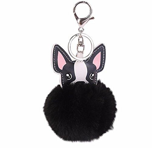 Holacha Llaveros de Perro Animal Lindos, Anillo de Llave de Piel de Conejo Colgante para Mujer Chica Accesorios de Teléfono Coche Bolsos (negro)