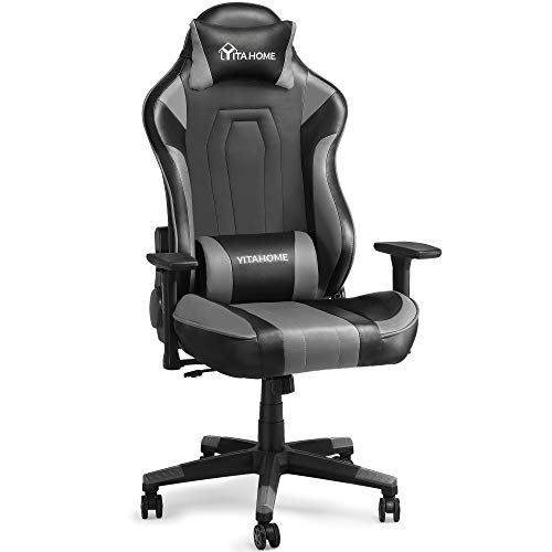 YITAHOME Massage Gaming Chair Big and Tall 350lbs Office Computer Desk Chair with Lumbar Support, Ergonomic Racing Style High Back Adjustable Swivel Game Chair for Adults, Black