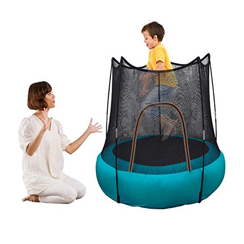 NEW Inflatable Trampoline for Kids, 3.87ft Portable Foldable Bounce Trampoline with Safe Nets and Air Pump, Children's Bouncing Area Jumping Fun Toy for Outdoor Indoor Garden (for 2-12 Years Old)