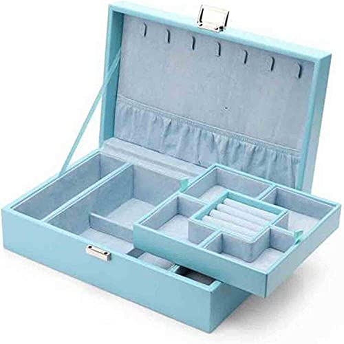 Caja de joyería de las mujeres Caja de lujo de lujo Joyería Joyería Caja de almacenamiento Collar / anillo / pendiente Exquisito Capacidad grande Joyería de boda Joyería Organizador de almacenamiento-