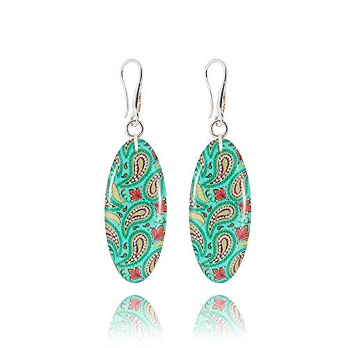 Sophisticated Oval Turquoise and Pink Dangle Earrings for Women; Glam Light Blue Everyday Jewellery by Dragon Porter; Design Shape -1.2x0.5 inch