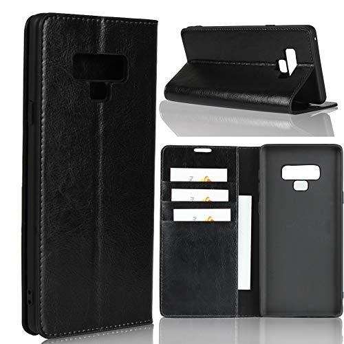 bagmaxx Samsung Galaxy Note 9 Wallet Hülle Echt Leder Crazy Horse Book Etui Schutz Hülle Handy Tasche Schwarz