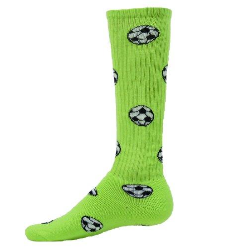 Red Lion Soccer Ball Knee-high Sock (Neon Green - Medium)
