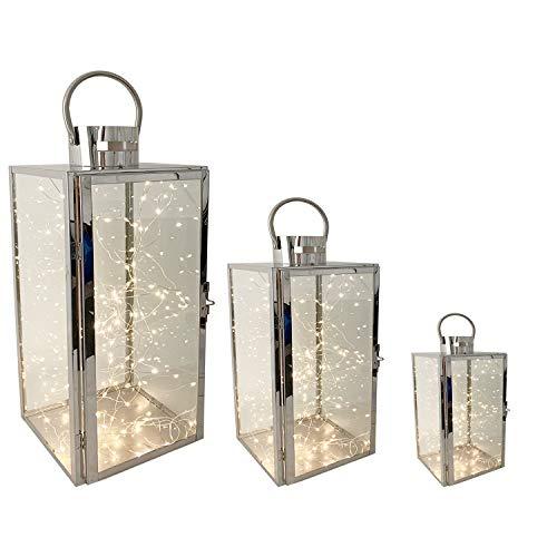 Mojawo Komplett Set XXL 3er Set Gartenlaternen Set aus Edelstahl Windlicht Laterne Glas 30/40 / 53 cm Silber + 3 x Gratis LED Tropfen Lichterkette