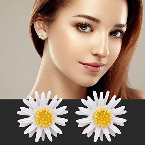Pendientes para mujer, diseño de margaritas blancas, estilo coreano, pequeñas flores amarillas frescas, ideales para fiestas y fiestas