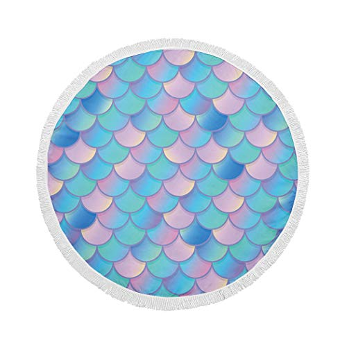 MQPPE Abstract Round Beach Towel, Mermaid Fish Pink Large Circle Beach Towel with Tassels, Beach Blanket Sand Proof Oversized Yoga Mat Towel, 59 Inches