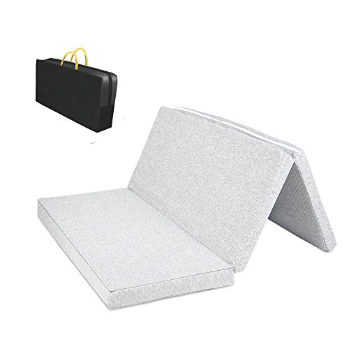 "MBQMBSS Tri-fold Pack and Play Mattress Multi-Use Waterproof Folding Portable Crib Mattress High Density Foam for Babies and Toddlers with Travel Carry Case(28"" x 40"" x 1.5"")"