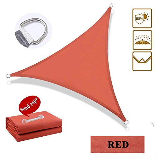 Garden Sun Shade Sail Respirant PES Sunscreen Auvent Canopy for Outdoor Patio Yard Party UV Block - Triangle, 3X3X3M, Red Canvas