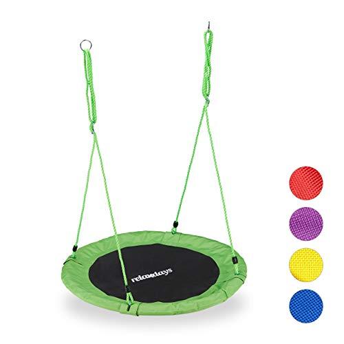 Relaxdays Nestschaukel, rund, für Kinder & Erwachsene, verstellbar, Ø 90 cm, Garten Tellerschaukel, bis 100 kg, grün