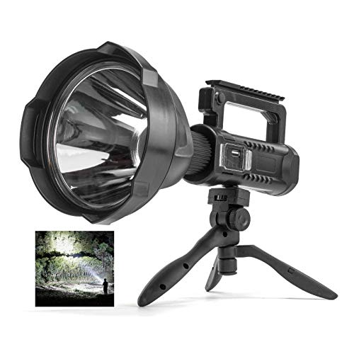 Rechargeable Spotlight Flashlight High Lumens, 90000 Lumen LED Super Bright Searchlight, 4 Modes IPX5 Waterproof Work Lights for Hiking, Camping, Hunting and Emergencies with Tripod and USB Output