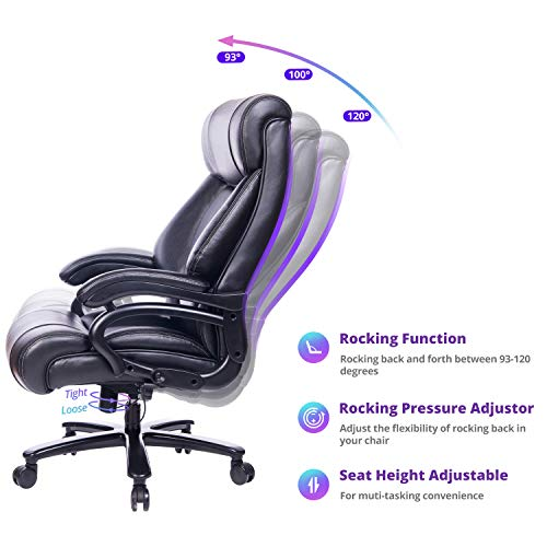 REFICCER Big and Tall 400lb Executive Office Chair High Back Leather Heavy Duty Desk Computer Task Swivel Chairs with Adjustable Tilt Angle, Thick Padding and Ergonomic Design Lumbar Support, Black