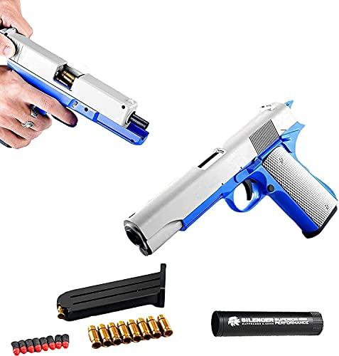 KYUPFLY Pistola a Proiettile Morbido sicura e innocua, Pistola a Proiettile Morbido Glock Shell Eject, Pistola Giocattolo a riduzione 1: 1 con silenziatore per proiettili per Bambini