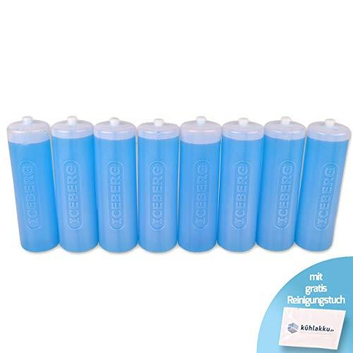 Runde Kühlakkus 8 x 500g, 12h Kühlleistung! Iceberg Kühlakku für Kühltaschen oder Kühlboxen, blau-transparent mit gratis Kühlakku Reinigungstuch