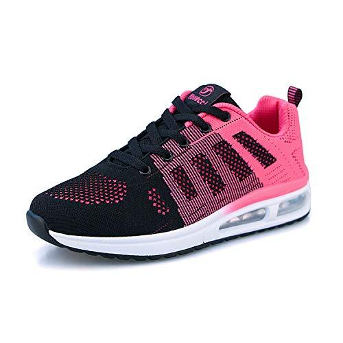 Air Zapatillas de Running para Mujer Zapatos de Fitness Gimnasia Ligero Sneakers Malla para Correr y Asfalto Aire Libre Deportes,Calzado Transpirable con Cordones(Rosa Roja, 41 EU)