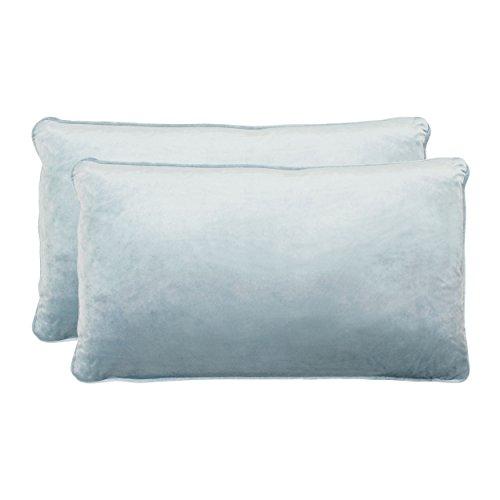 Jean Pierre New York Lucas Lumbar Velvet 2-Piece Decorative Pillow Set, 14in. x 24in, Harbor Blue