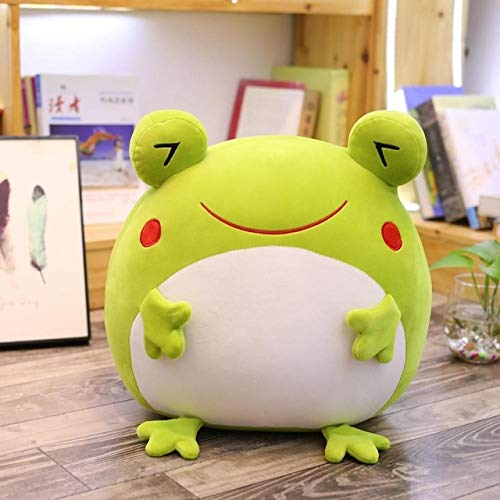 Mhtop 35cm Emotional Green Frog Plush Toy Down Cotton Stuffed Squishy Animal Functional Pillow Flannel Blanket Hands Warm Gift